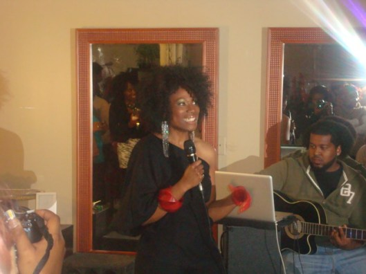 Simeko addressing attendees at her grand opening event in Sept. '11